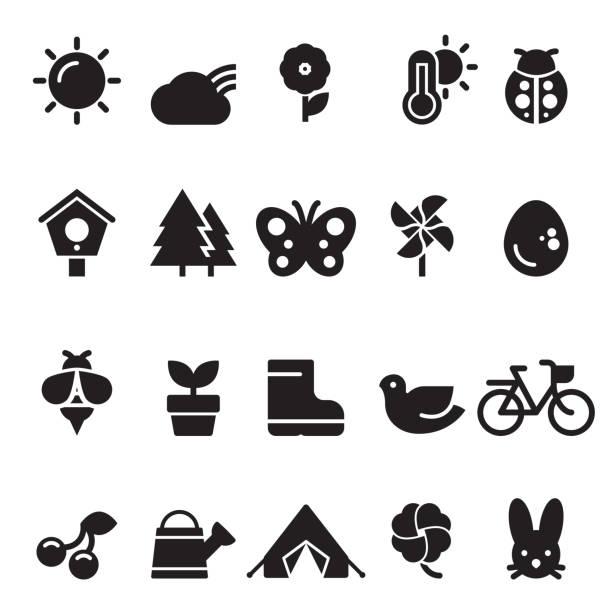 Summer Spring Icons [Black Edition] vector art illustration