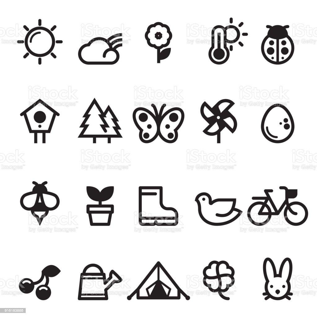 Summer Spring Icons vector art illustration