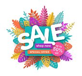 Spring summer or autumn sale round vector banner, bright advertising horizontal background with colorful leaves in the style of paper cut, volumetric inscription Sale, isolated on white background