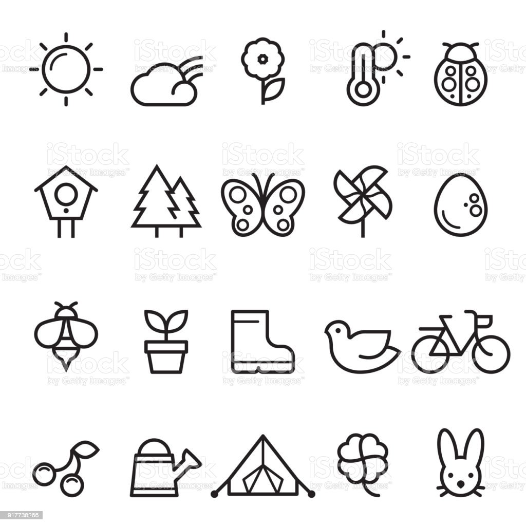 Summer Spring Thin Line Icons vector art illustration