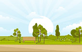 Summer Spring View in City Park Outdoor Landscape Flat Illustration