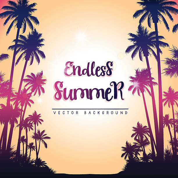 Summer square background with palm trees vector art illustration