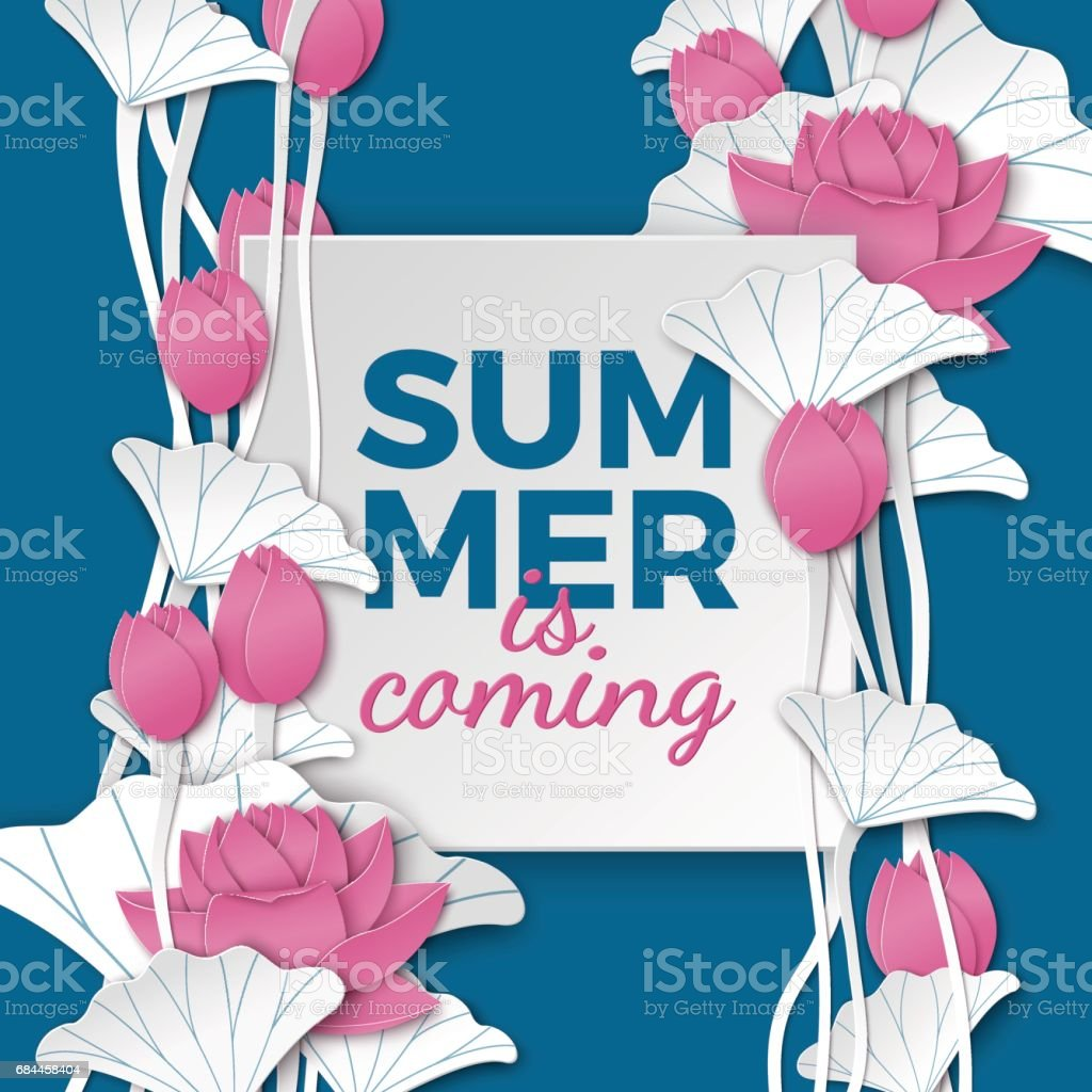Summer Square Card With Floral Background Paper Cut Pink Lotus