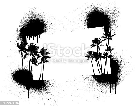 summer stencil frame with palms and copy space