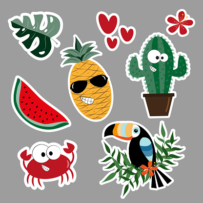 Summer sticker set- Cute cactus, crab, toucan, watermelon, pineapple, palm leaf, hibiscus , and hearts.