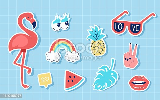 Fashion summer cute patches or stickers set. Vector trendy illustration.