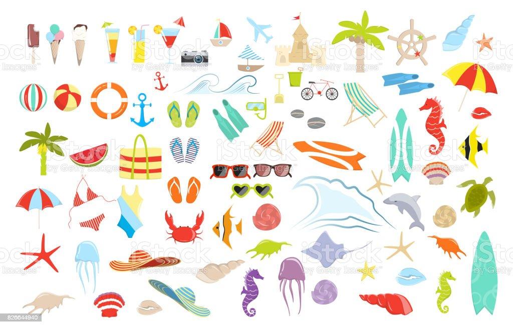 Summer stuff set. royalty-free summer stuff set stock illustration - download image now