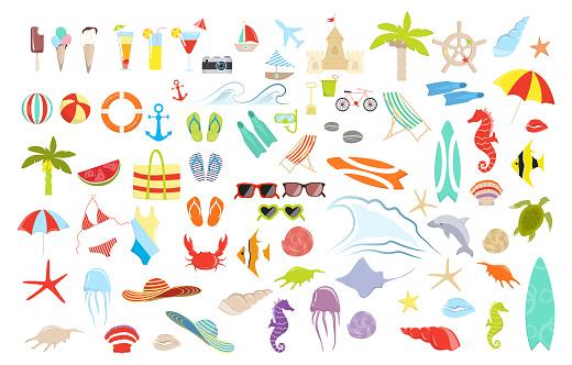 여름 물건을 설정합니다 개체 그룹에 대한 스톡 벡터 아트 및 기타 이미지