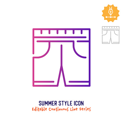 Summer Style Continuous Line Editable Stroke Line