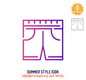 istock Summer Style Continuous Line Editable Stroke Line 1250732274