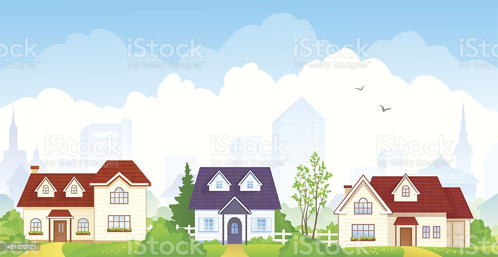 Summer suburb vector art illustration