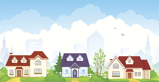 Summer suburb Vector illustration of summer suburbs. EPS 10: transparency used. RGB colors. backgrounds clipart stock illustrations