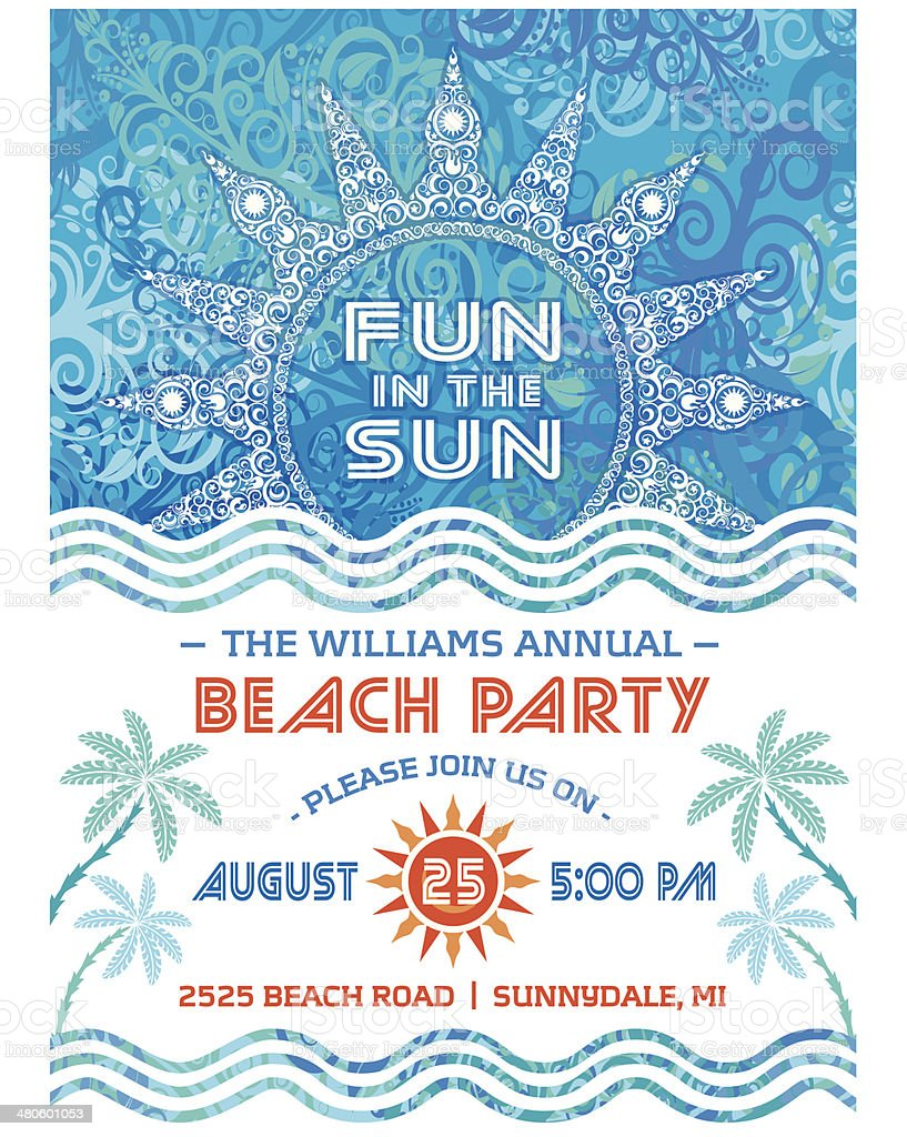 Summer Sun Beach Party Invitation Blue vector art illustration