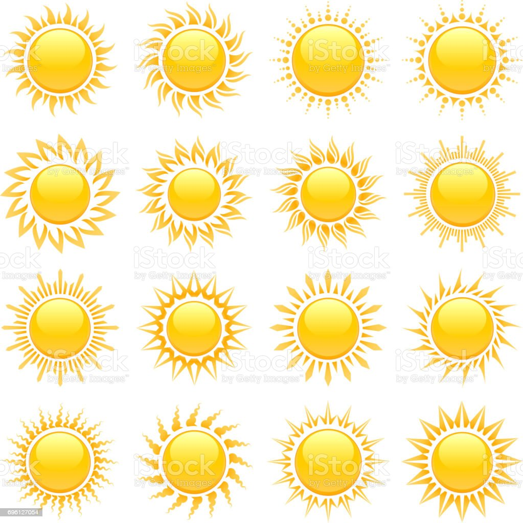 Summer sun designs with glowing rays vector icon set vector art illustration