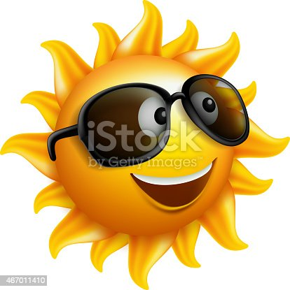 istock Summer Sun Face with sunglass and Happy Smile 467011410