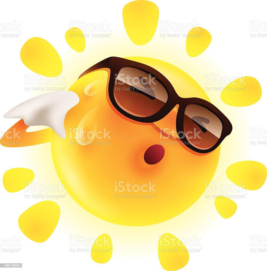 Summer sun feeling hot and wiping sweat vector art illustration