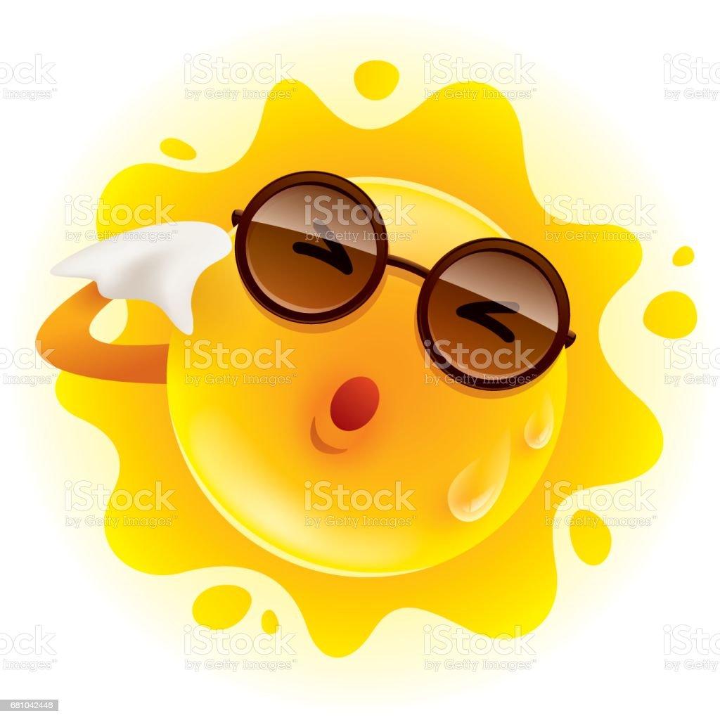Summer sun feeling hot and wiping sweat vector art illustration
