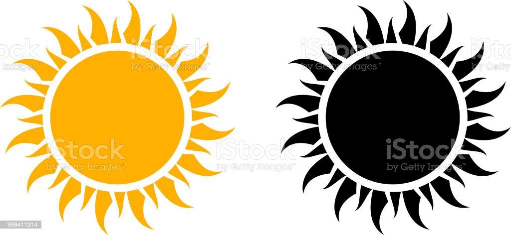 Ícone de sol de verão conjunto gráfico de vetor - Vetor de Abstrato royalty-free
