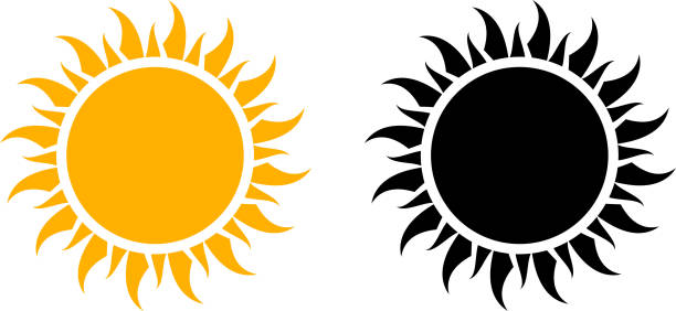 Summer Sun Icon Set Vector Graphic This 100% royalty free vector graphic features two variations of the sun icon. The first one in yellow and the second one black color. The background of the illustration is white. sun stock illustrations