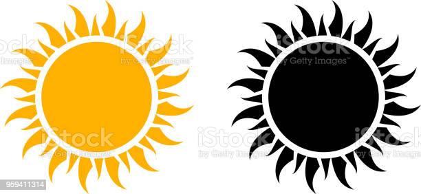 Vetores de Ícone De Sol De Verão Conjunto Gráfico De Vetor e mais imagens de Abstrato