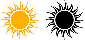 This 100% royalty free vector graphic features two variations of the sun icon. The first one in yellow and the second one black color. The background of the illustration is white.