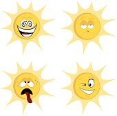 Collection of four colored, cute sun character icons (emoticons) with different facial expression