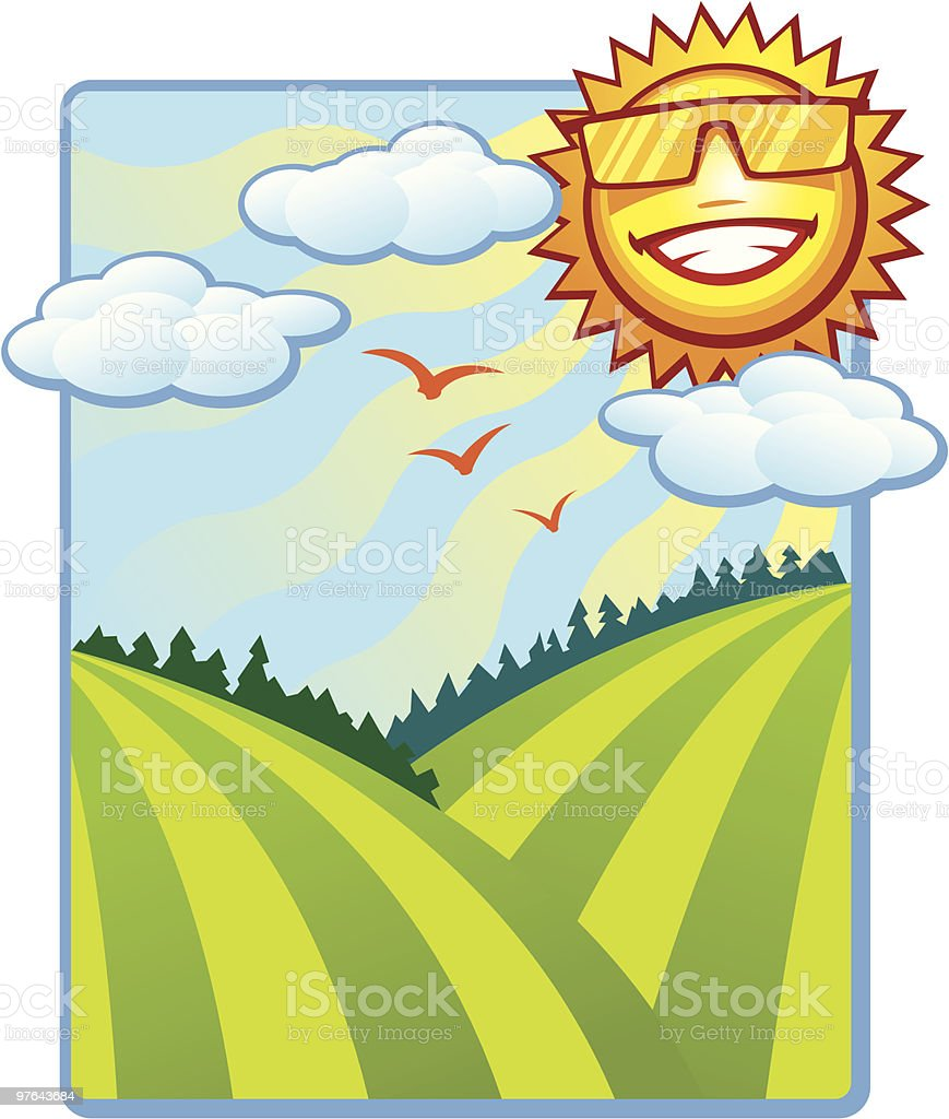 Summer Sun Shine and Rolling Hills royalty-free stock vector art