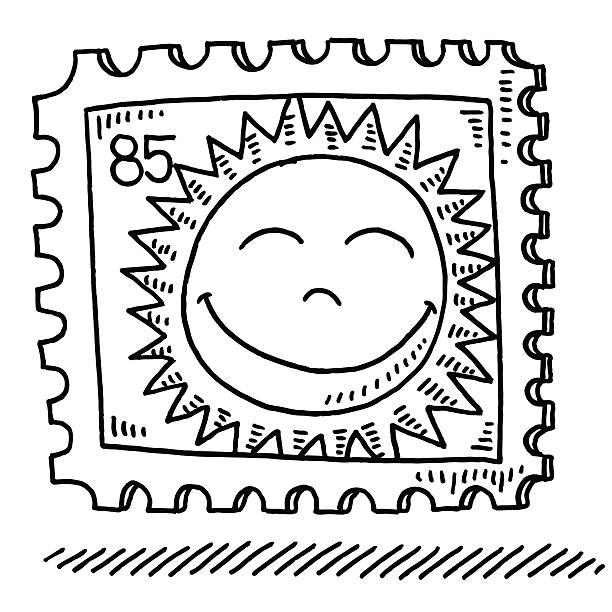 Summer Sun Stamp Drawing Hand-drawn vector drawing of a Summer Sun Stamp. Black-and-White sketch on a transparent background (.eps-file). Included files are EPS (v10) and Hi-Res JPG. cartoon character figure stock illustrations
