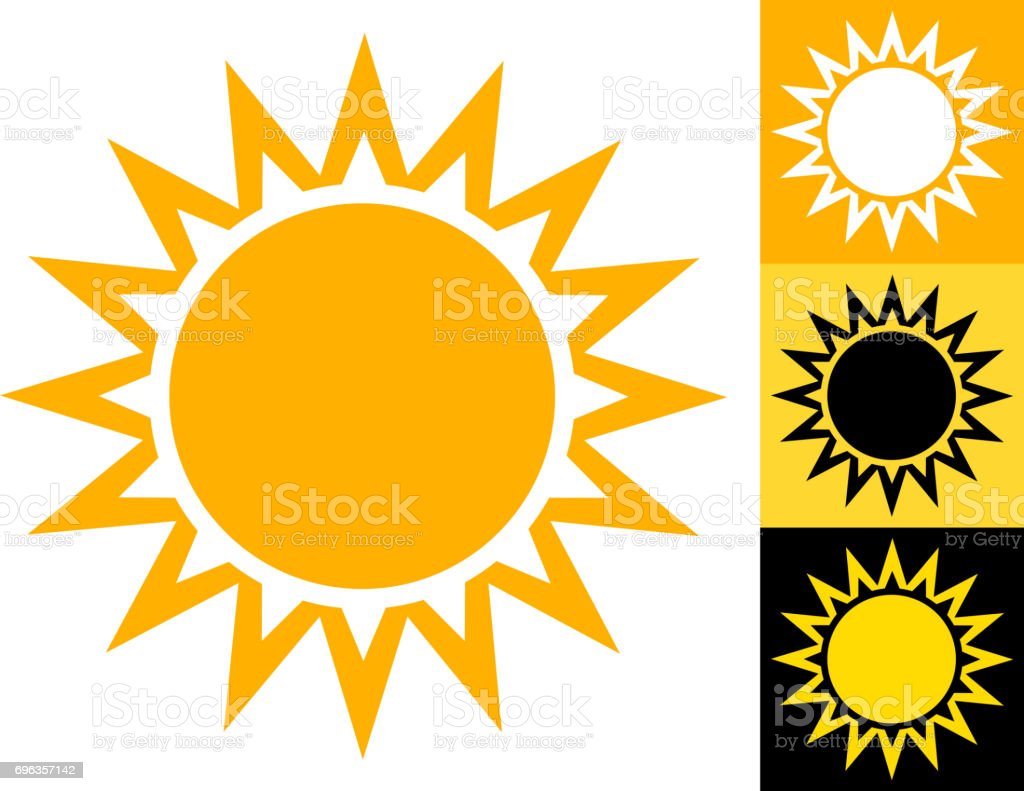 Summer Sun Vector Icon in Yellow royalty-free summer sun vector icon in yellow stock vector art & more images of black color
