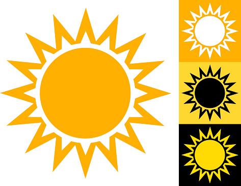 Summer Sun Vector Icon in Yellow