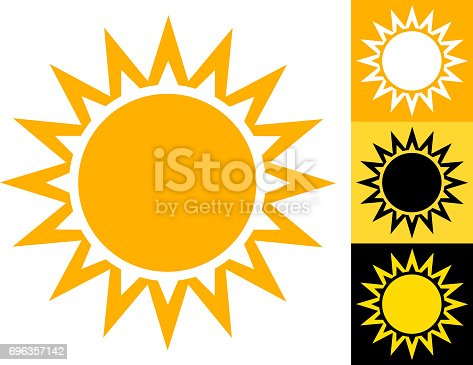 Summer Sun Vector Icon in Yellow. This image has a large vector sun icon on the left with three alternate design variations on the right. Each design element can be used independently. The colors are yellow, white and black. This image is ideal for your summer sun illustrations.