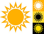 Summer Sun Vector Icon in Yellow