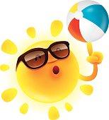Summer sun with beach ball