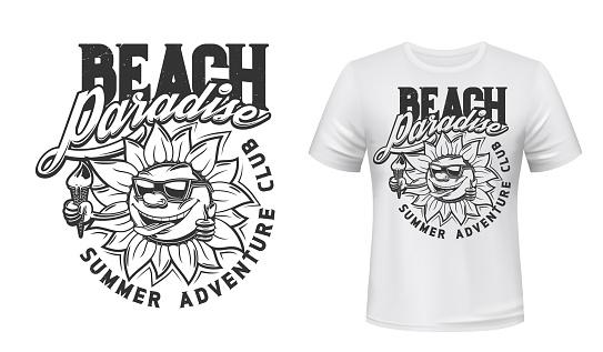 Summer sun with ice cream t-shirt print vector