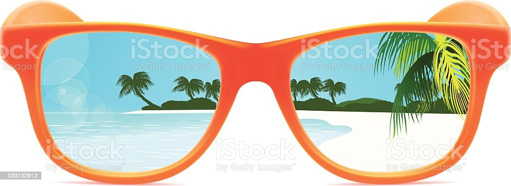 Summer Sunglasses With Beach Reflection stock vector art ...