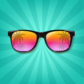 Summer Sunglasses With Sunburst background With Gradient Mesh, Vector Illustration