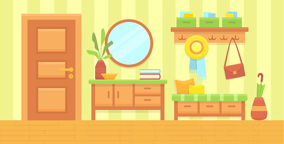 Summer sunny hall interior. Cozy home hallway with door, mirror and modern furniture. House entrance background. Flat vector illustration.