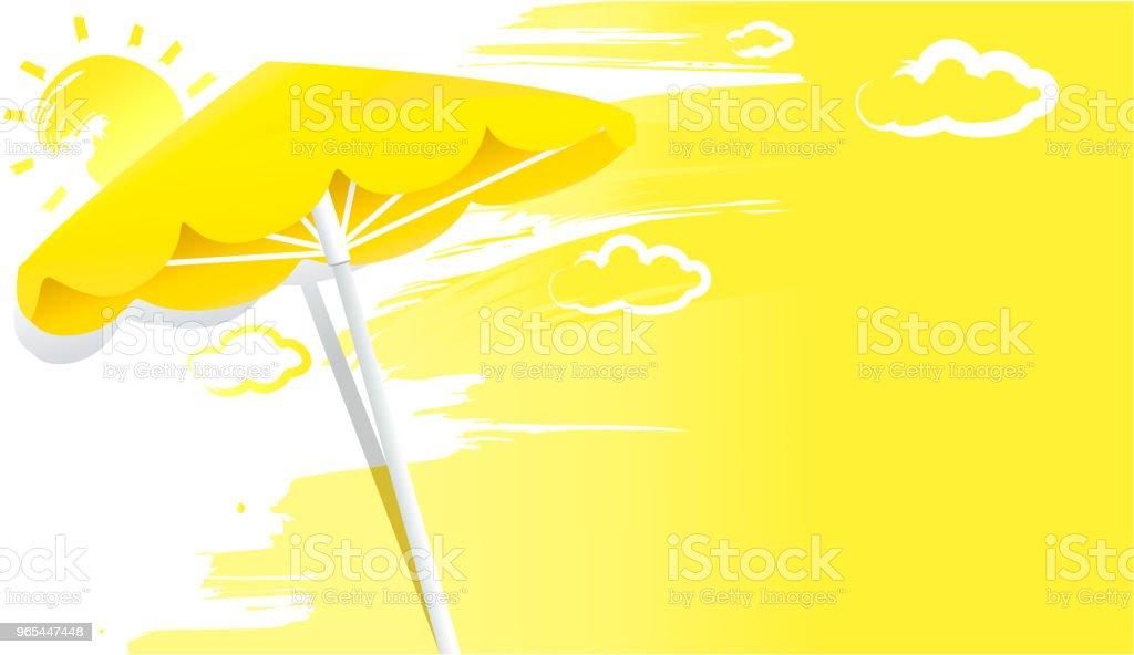 Sommer sonnig gelben Hintergrund mit Regenschirm - Lizenzfrei Abstrakt Vektorgrafik