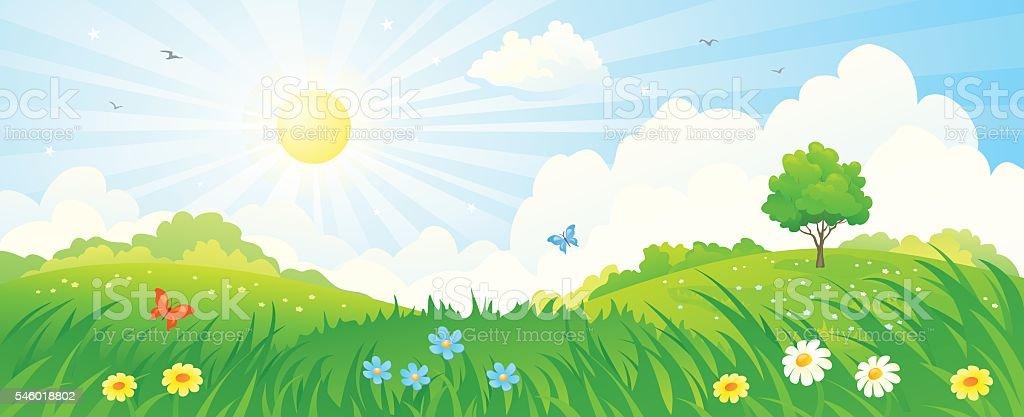 Summer sunrise panorama vector art illustration