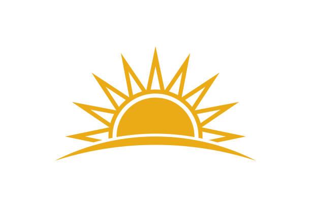 summer sunrise. sunny logo design - sunrise stock illustrations