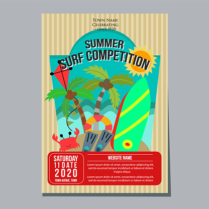 Summer Surf Competition Holiday Poster Template Stock Illustration