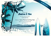 Summer surf invitation design.
