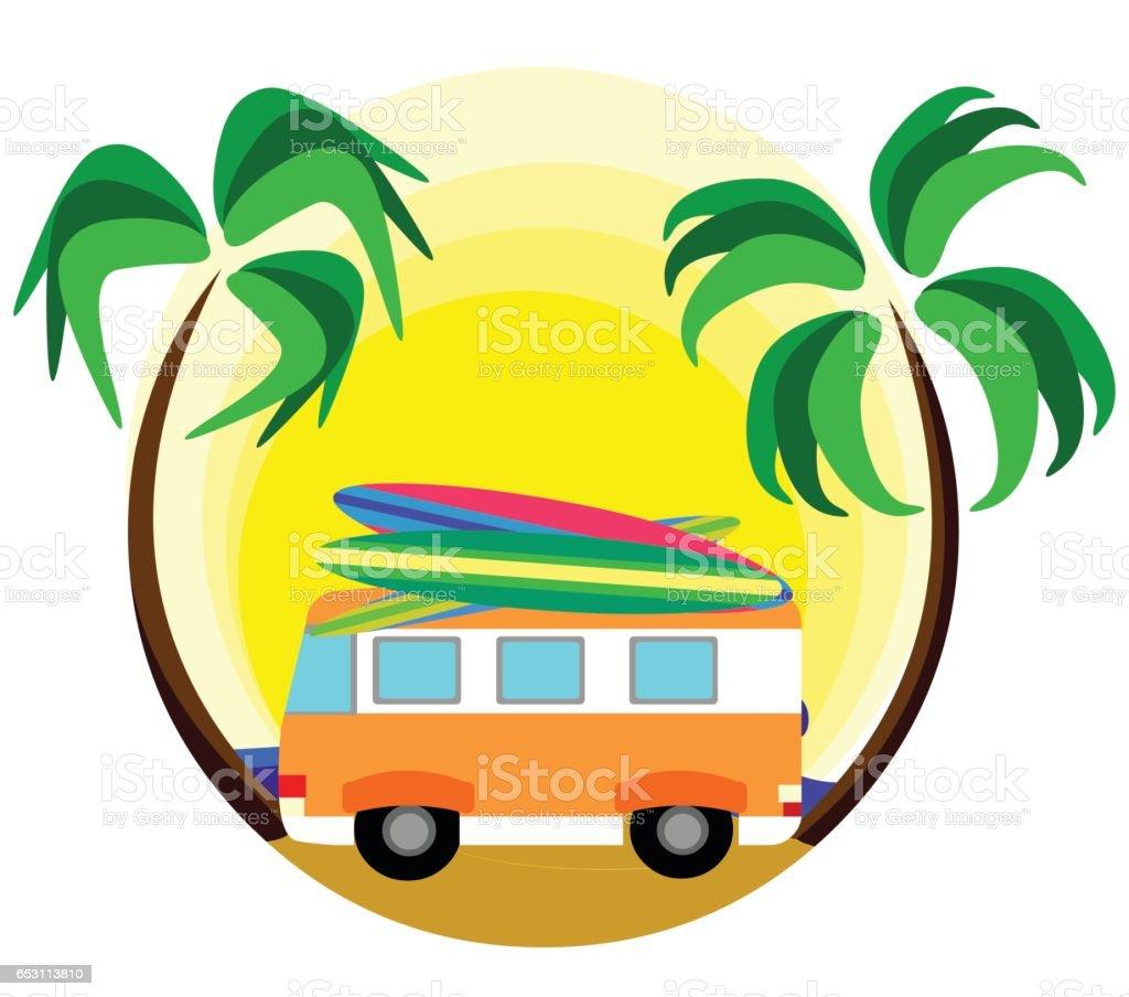 summer surf vector art illustration
