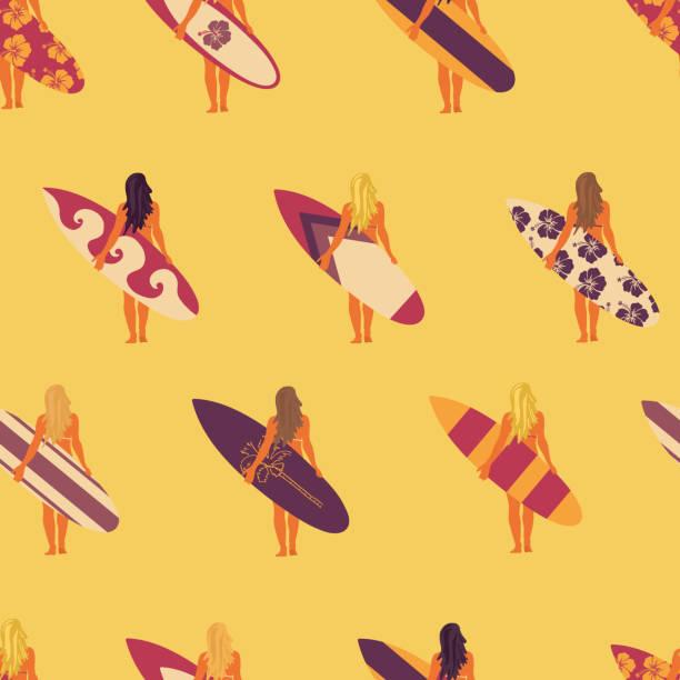 Summer Surfer girl seamless vector pattern. Women holding surfboards illustration yellow pink purple background. Summer beach vacation design. Surf sport design banner, flyer, surf store, beach wear vector art illustration