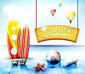 Summer Surfing Hanging Arc Sign With  Starfish and Beach ball