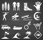 Summer Surfing on Black Chalkboard Vector Icon Set. This royalty free vector illustration features a set of  vector summer icons in white color on a dark chalkboard. Each 100% vector design element can be used independently or as part of this royalty free graphic set. The blackboard has a slight texture.