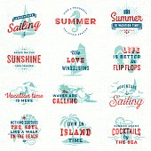 Summer, surfing, sailing, beach signs and badges in overprint retro style.EPS 10 file with transparencies.File is layered with global colors.More works like this linked below.