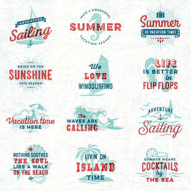 夏、サーフィン、セーリング、ビーチ、バッジの表示 - サーフィン点のイラスト素材/クリップアート素材/マンガ素材/アイコン素材