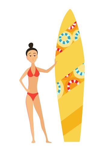 Illustration De Vecteur De Surf Dete De Fille Ou De Jeune Femme Surfer Avec La Planche