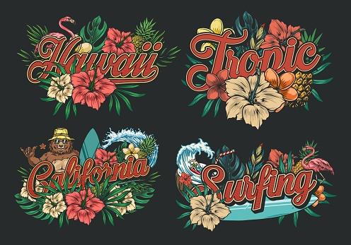 Summer surfing vintage colorful labels